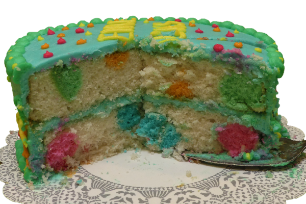 Colorful Polka Dot Cake for Science Birthday Party c