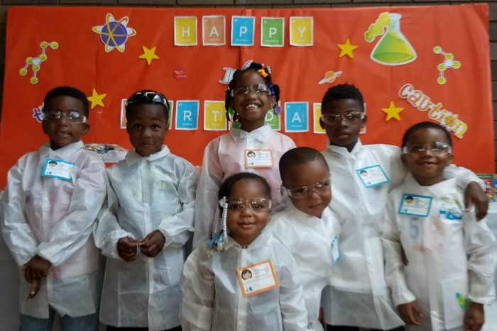 Five Year Old Science Birthday Party Group Photo